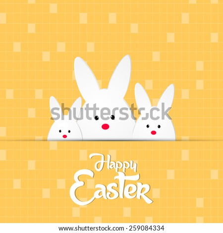 beautiful set of bunny for Happy Easter abstract with nice and beautiful seamless background. - stock vector