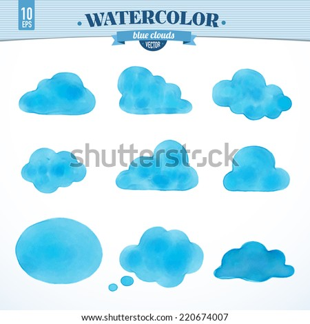 Beautiful set of isolated watercolor clouds. Vector illustration