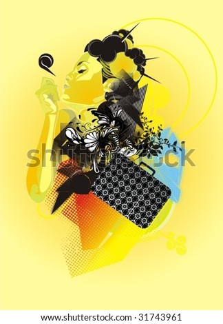 beautiful woman and abstract vector shapes,fashion illustration - stock vector