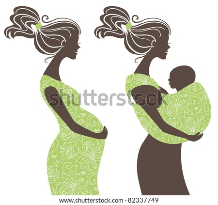 Beautiful women silhouettes. Pregnant woman and mother with baby in a sling - stock vector