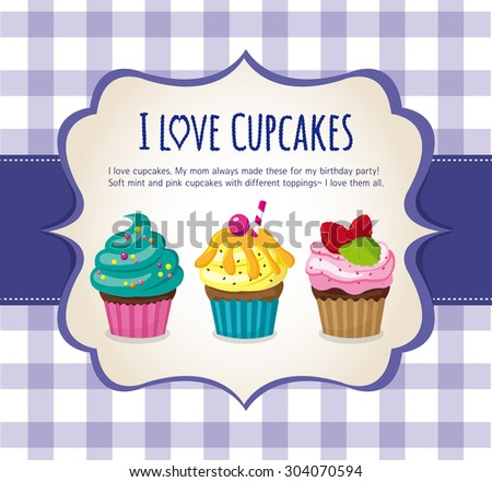 3 beautifully decorated cupcakes. Blue checked background. Vector Illustration   - stock vector