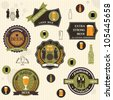 Beer badges and labels in retro style design. Vector set - stock vector