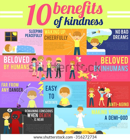 10 benefits advantage of love and kindness in cute cartoon infographic banner template layout background design for self-improvement education, religion, and morality purpose, create by vector   - stock vector