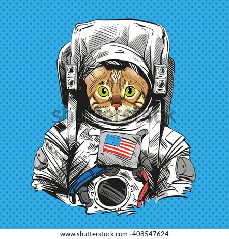 Bengal cat in astronaut suit. Hand drawn vector illustration
