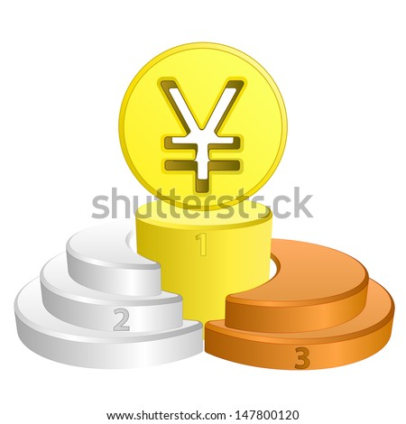 best podium place for yuan or yen vector illustration