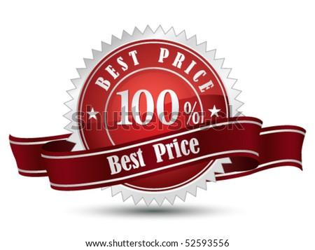 100% Best Price  Sign - stock vector