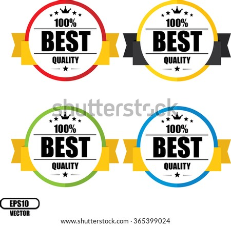 100% Best quality guarantee, Button, label and sign - Vector illustration - stock vector