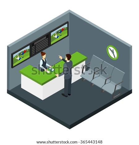 Bets and gambling with football and sports bets symbols isometric vector illustration  - stock vector