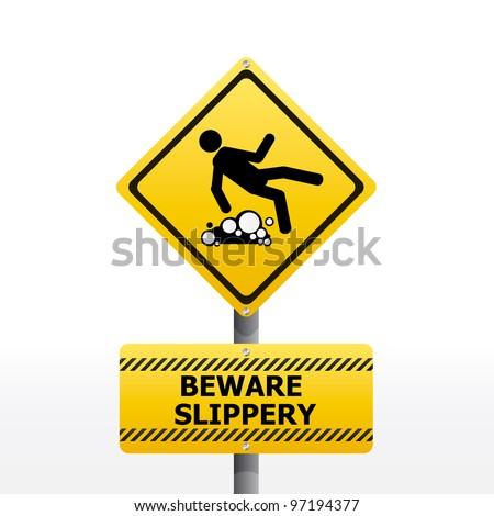 beware slippery sign vector - stock vector