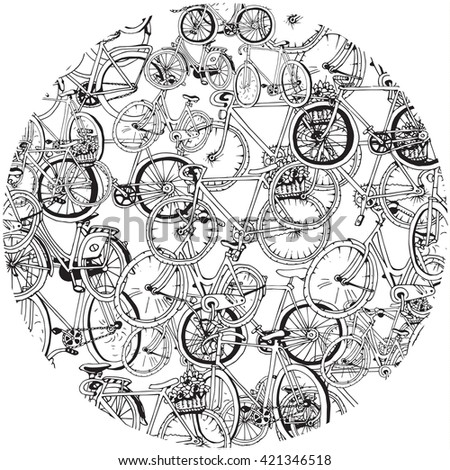 Bicycle Collage in a circle - stock vector
