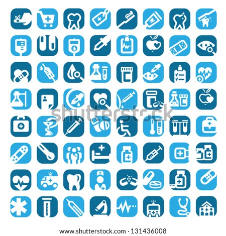 64 Big Colorful Medical Icons Set Created For Mobile, Web And Applications. - stock vector
