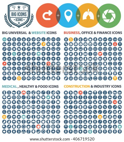 Big icons,Universal website,Business,office,finance,money,Medical,healthy,food,construction,industry icon set,clean vector - stock vector