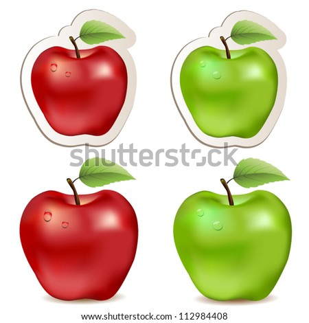 Big  shiny red and green  apples - stock vector
