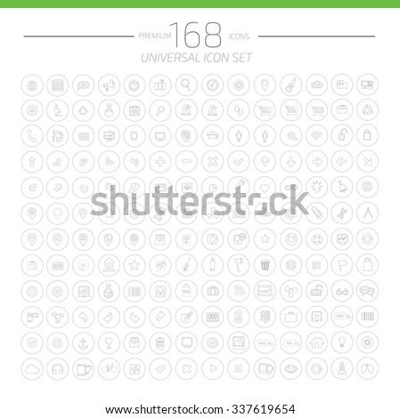 168 Big Web Universal Icon Set,Line Icons on white background,clean vector