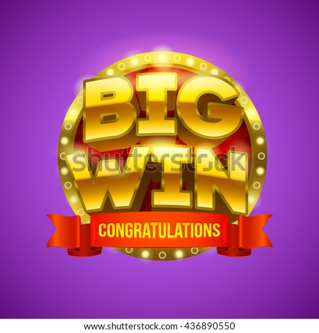 """""""Big win"""" banner with red ribbon for your text. Eps10 vector illustration. - stock vector"""