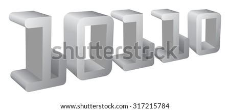 binary code 3d , vector - stock vector