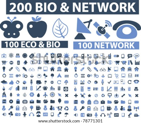200 bio & network icons, signs, vector - stock vector
