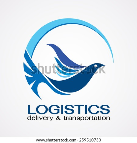 Bird flying to around the world ,Delivery and shipping symbols,Abstract logo template for fast delivering concept design - stock vector