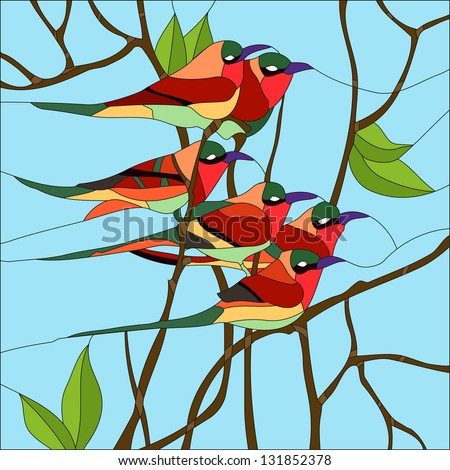 bird of happiness / Stained glass window - stock vector