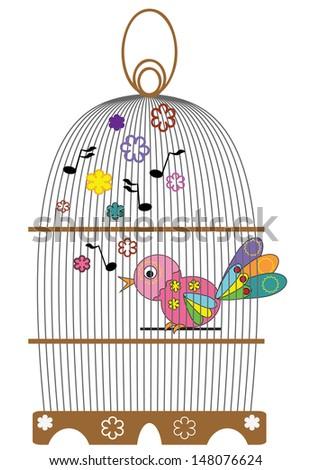Birdcage with bird, vector. - stock vector
