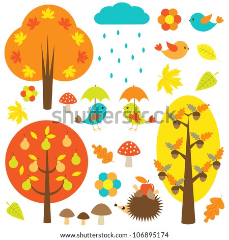 Birds and trees in autumn. Vector set - stock vector