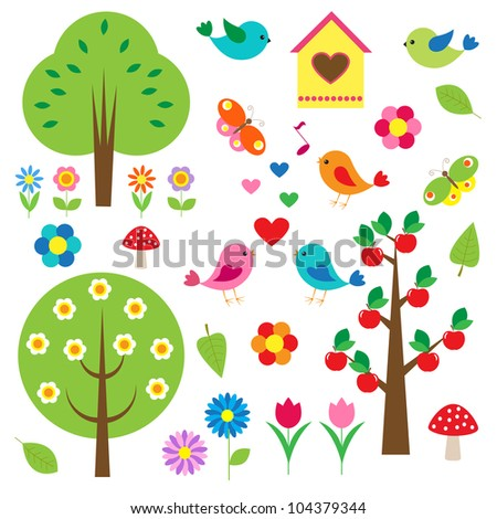 Birds and trees. Vector set - stock vector