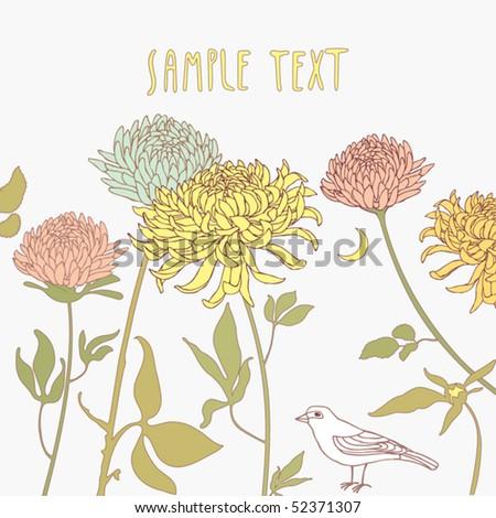 birds in flowers - vector illustration - stock vector
