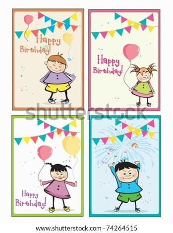 4 birthday cards boys girls stock vector 74264515 shutterstock 4 birthday cards for boys and girls bookmarktalkfo Image collections