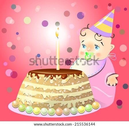 Birthday celebrate cake baby vector illustration - stock vector
