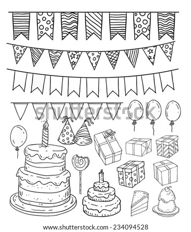 Birthday party elements, vector illustration. - stock vector