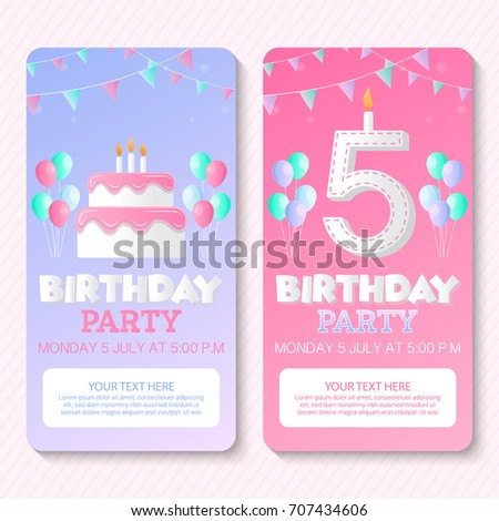 Birthday Party Invitation Card Template Stock Vector 707434606