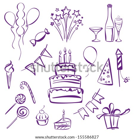 birthday party set silhouette vector illustration  sketch