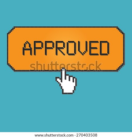 8 bit approved icon button, retro style - stock vector