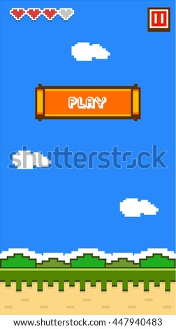 8 bit Game Asset / Background with play button