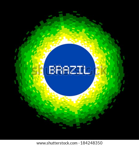 8-Bit Pixel-art Brazil World Concept - stock vector