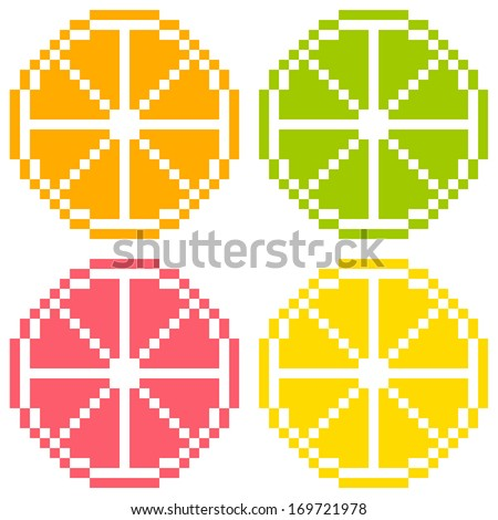 8-bit Pixel Art Citrus Fruit Slices - Orange, Lime, Grapefruit, Lemon. Seamless Background Tile - stock vector