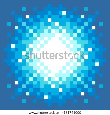 8-Bit Pixel-art Explosion on a Blue Background - stock vector