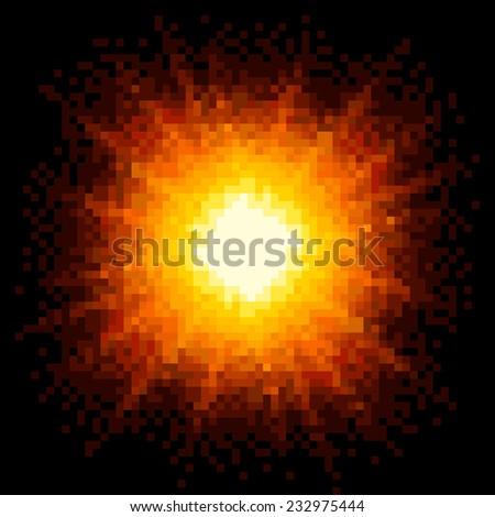 8-bit Pixel Art Fiery Explosion. EPS8 Vector - stock vector