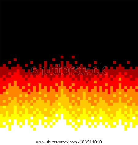 8-Bit Pixel-art Fire Background - stock vector