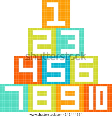 8-bit pixel-art number 1-10 blocks arranged in a pyramid - stock vector