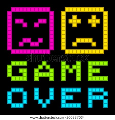 8-Bit Pixel-Art Retro Arcade Game Over Message. EPS8 Vector - stock vector