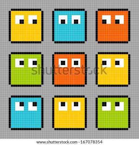8-bit pixel characters looking in different directions.  - stock vector