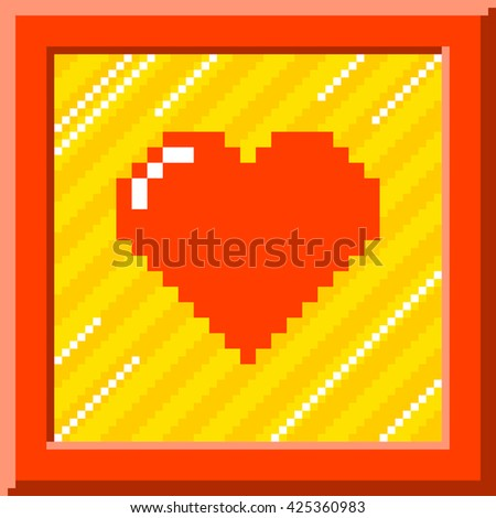 8-Bit Pixel Heart Inside Picture Frame. EPS8 Vector
