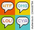 8-bit Pixel 3-Letter Acronyms in Speech Bubbles - stock vector