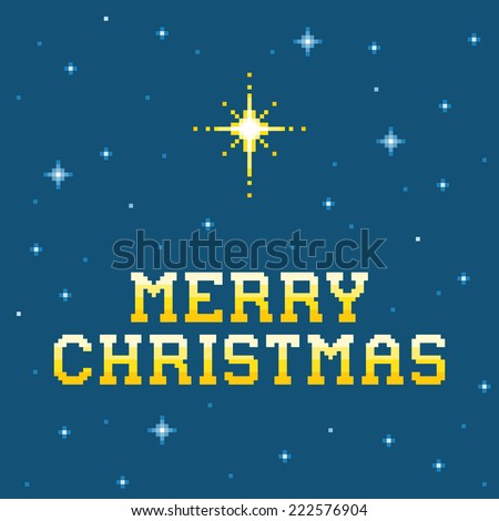 8-bit Pixel Merry Christmas Message with Star of Bethlehem  - stock vector