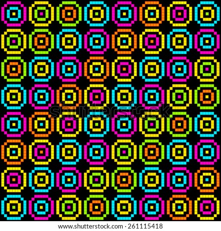8-Bit Pixel Retro Circles Pattern. EPS8 Vector - stock vector