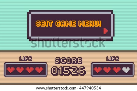 8bit/ retro game menu / game asset