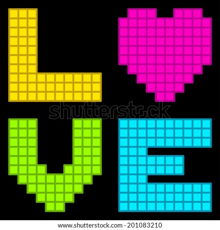 8-Bit Retro Pixel Love Heart - stock vector