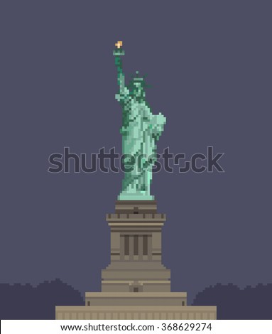 8-bit Statue of Liberty. vector illustration - stock vector