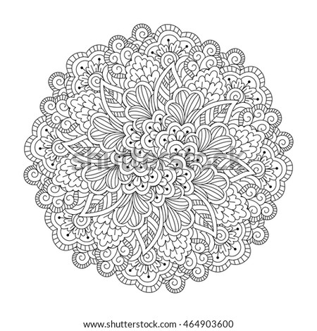 Black and white floral pattern. Vector illustration.